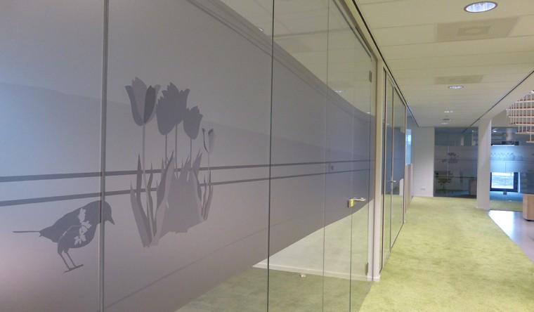 Printen op glas - decoratie Clusius College Alkmaar
