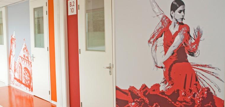 Wandbekleding Comenius College - Hilversum